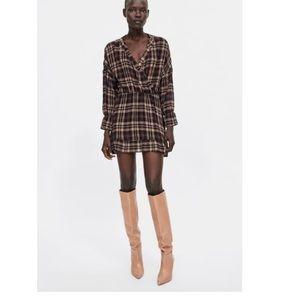 Zara Ruffled Plaid Dress -NWT - M